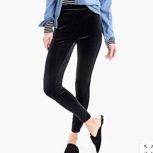 J Crew Velvet Pants Black Small Skinny Leg